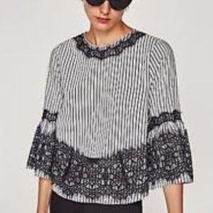 Zara Flare Bell Sleeves Black/White Lace Top (Ap4)